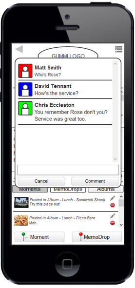 Feedback is important to the user. Every user is interested in sharing experiences and having their friends share their thought about those experience. If they were not, why would they share it in the first place? The above screen is an example of feedback left by the user's friends. This feedback informs the user and their friends who have made comments. This feature serves as the foundation of any social platform and further engages the use of the technology by inviting others to join in the experience.